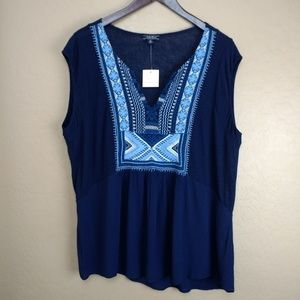Lucky Brand Split Neck Embroidered Top